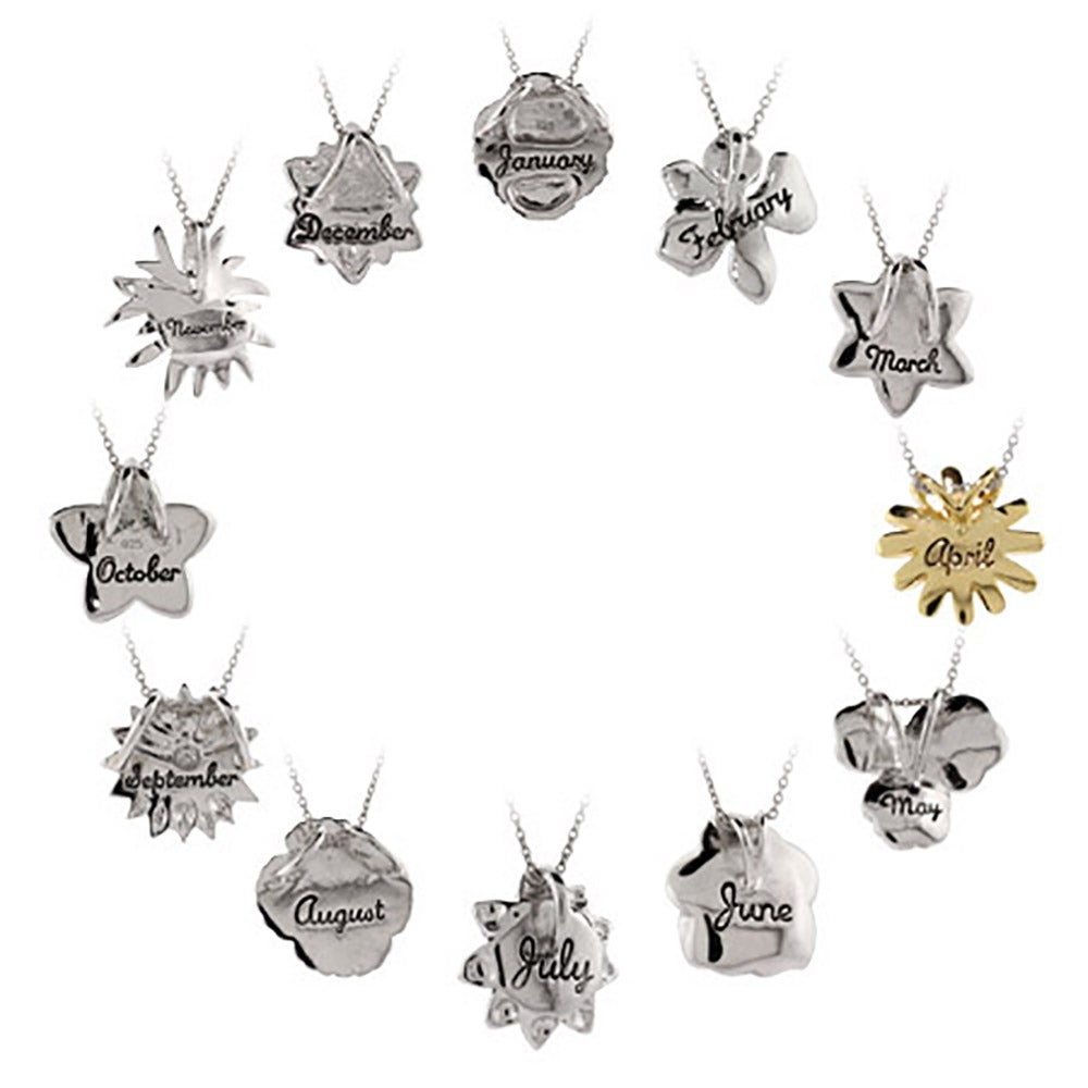 Silver birth month flower pendant sterling silver birth month flower pendant izmirmasajfo Gallery
