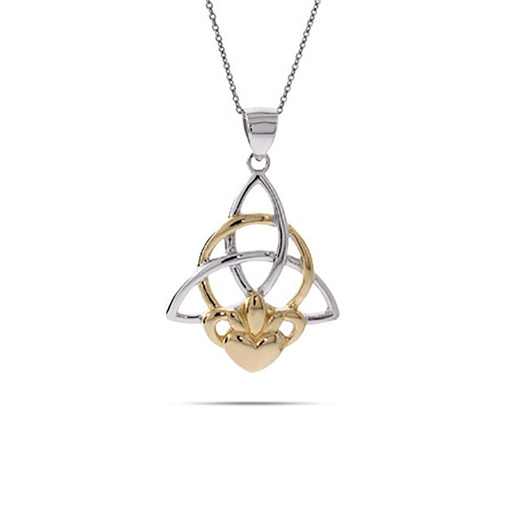 silver irish jewellers sterling drop min rodium house claddagh necklace rare pendant lor gold of shamrock with rose chain