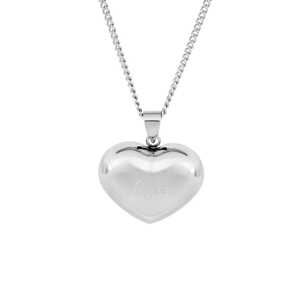 Engravable petite puffed heart pendant mozeypictures Choice Image