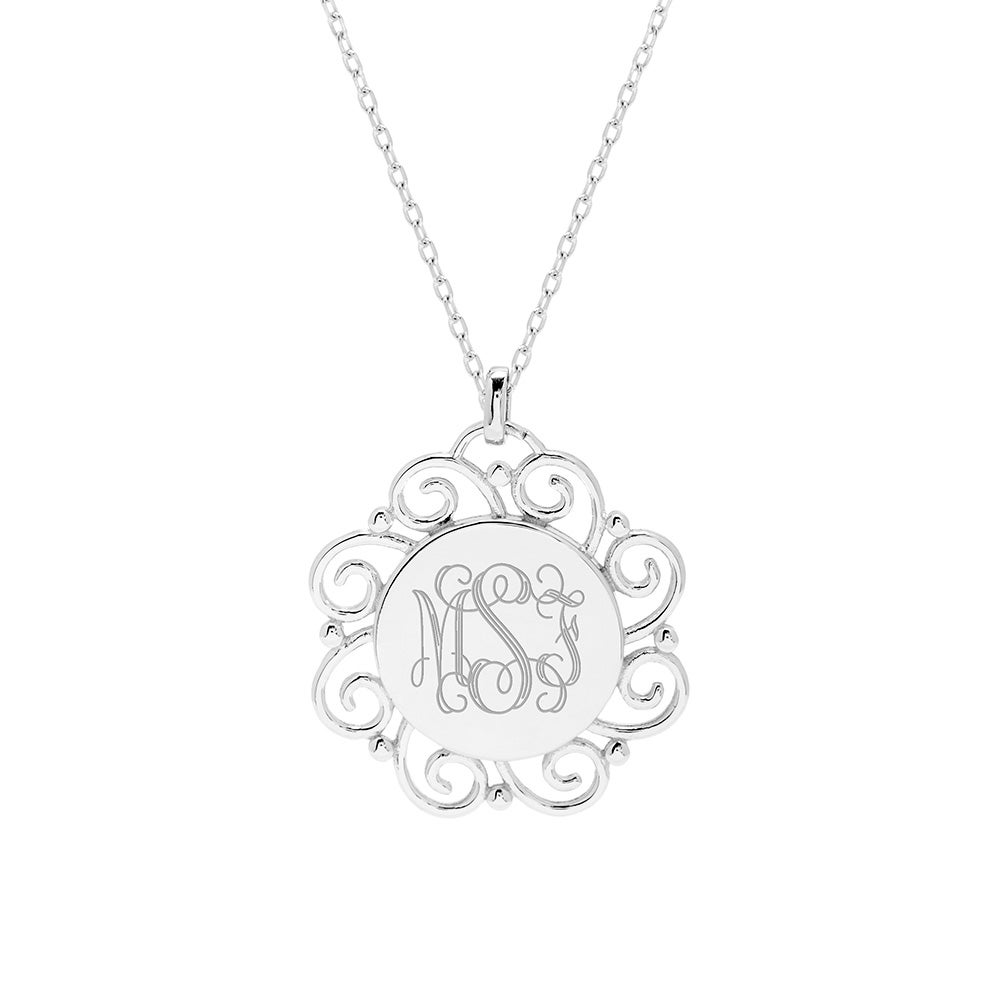 lockets locket round necklace monogram sterling products knot