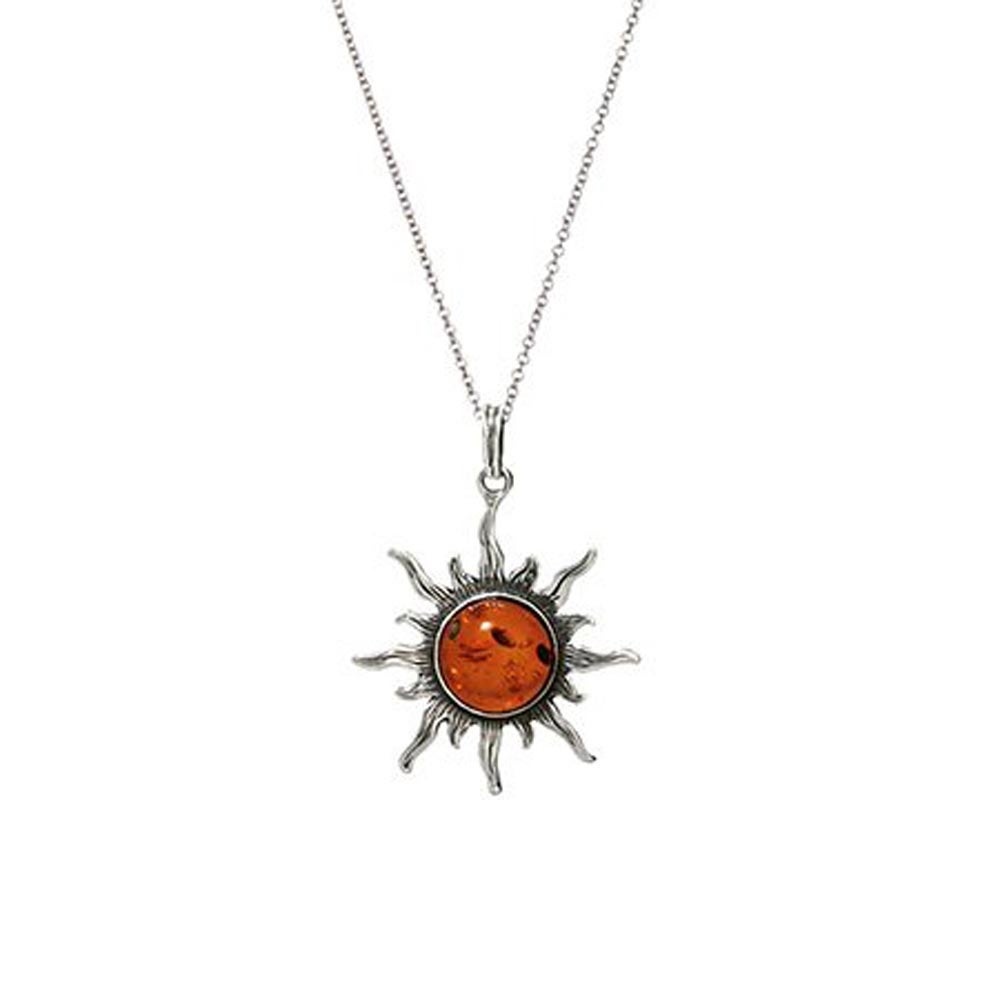 Amber sun pendant sterling silver baltic amber sun necklace mozeypictures Images
