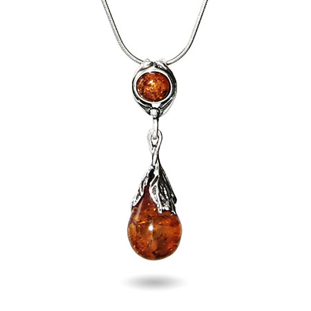 Vintage leaf sterling silver baltic amber pendant mozeypictures Images