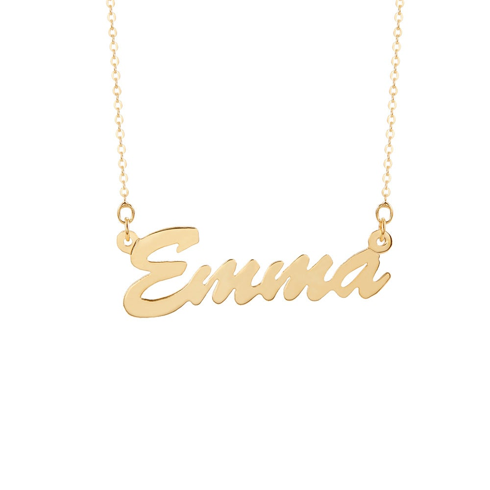 script name style thin nameplate vermeil gold baby plated necklace chains