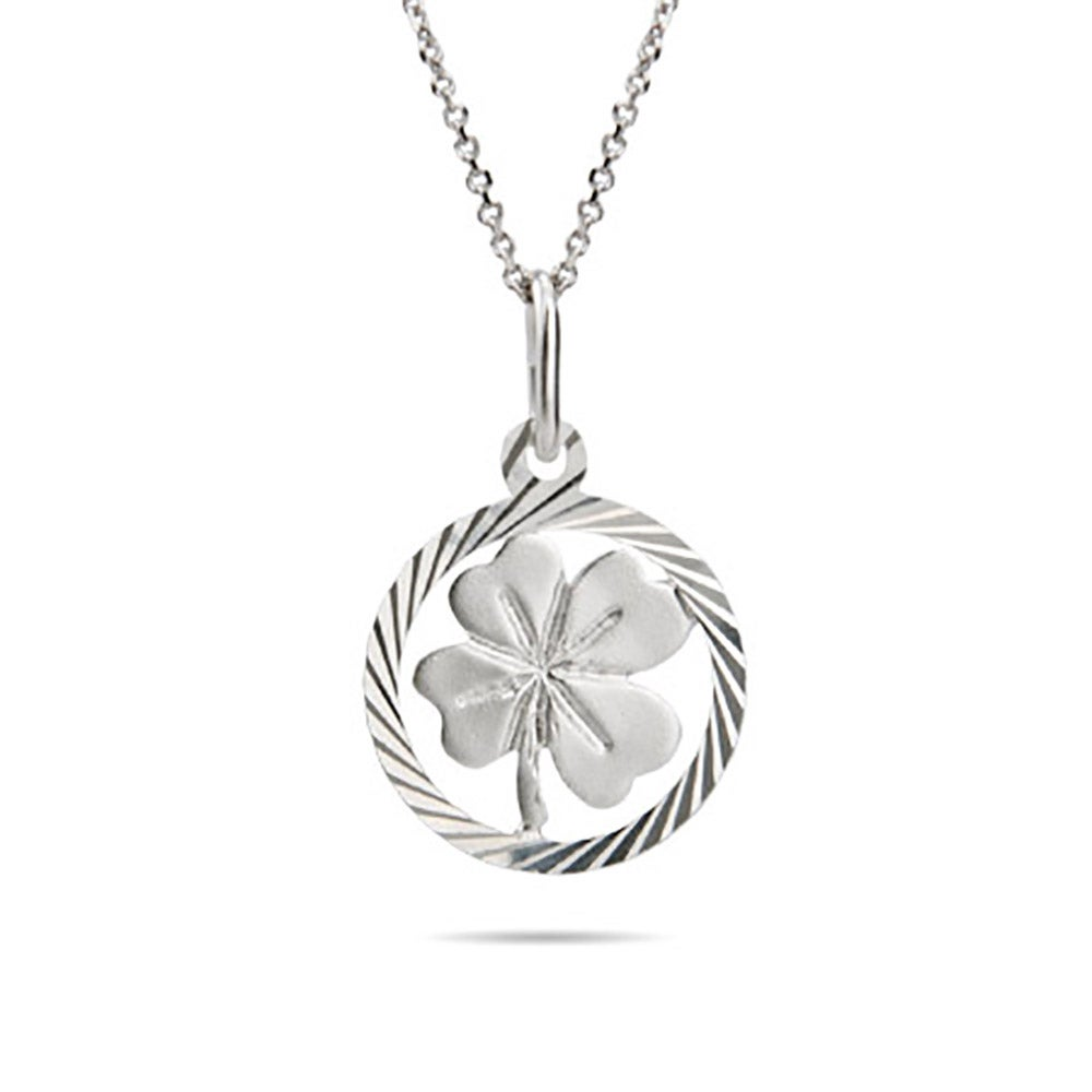 personalised leaf original lily with silver product charmed necklace four message clover lilycharmed by