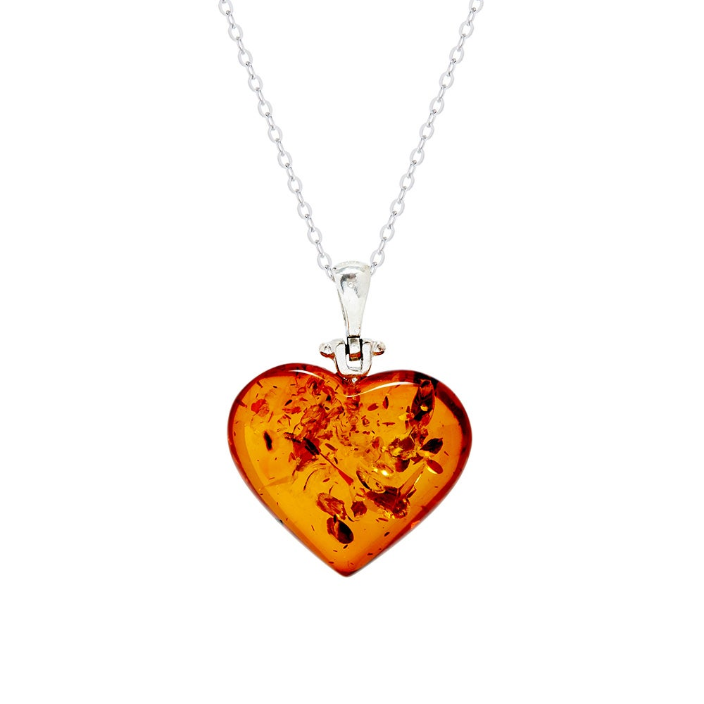 Baltic Honey Amber Sterling Silver Heart Shaped Pendant nPt6tzAyb