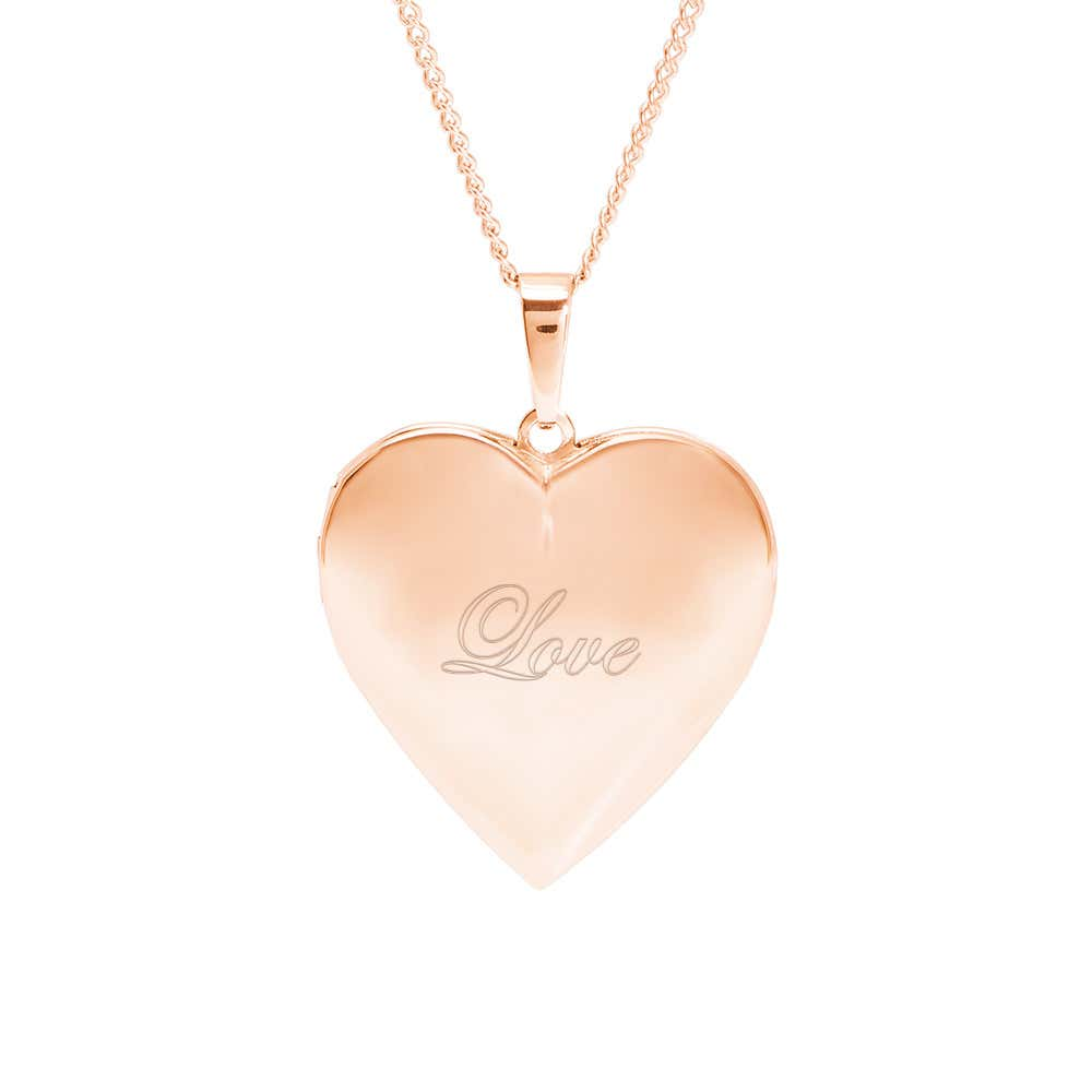730c87daa Engravable Rose Gold Polished Heart Photo Locket