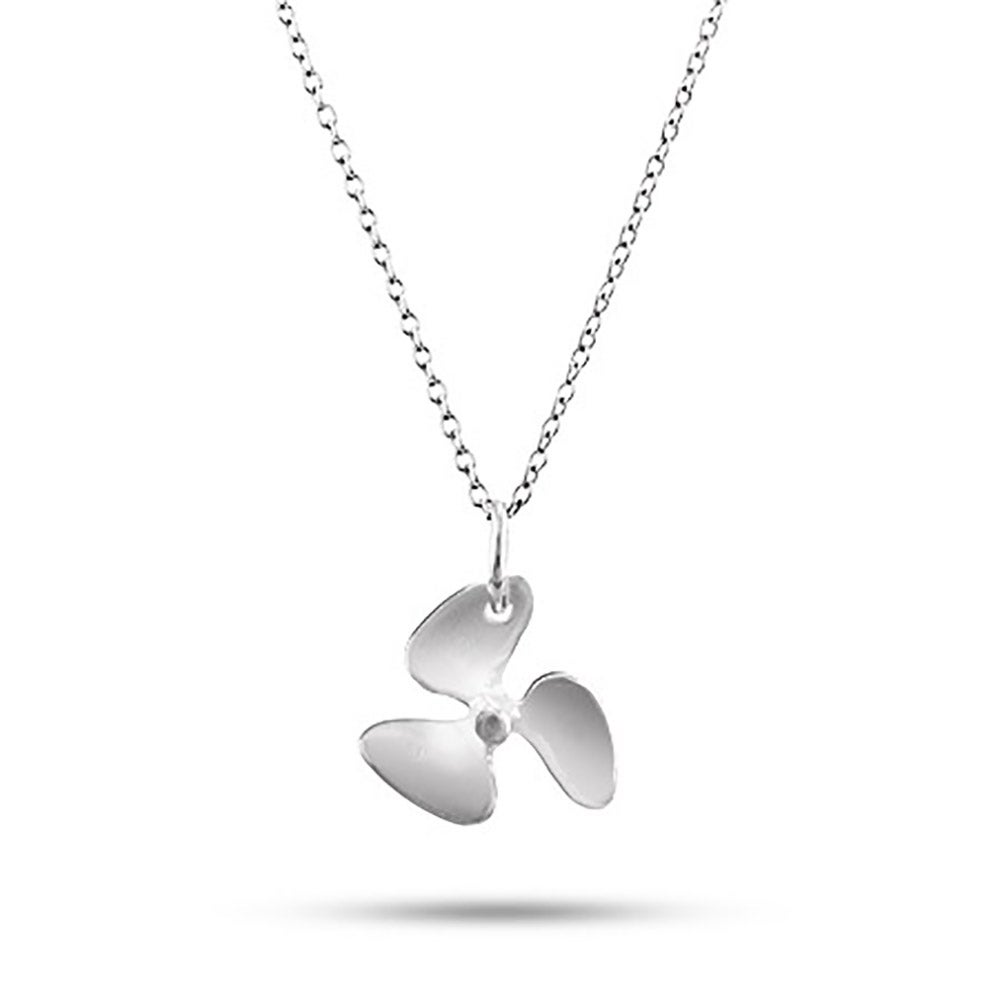Silver propeller charm necklace sterling silver propeller charm necklace mozeypictures Gallery