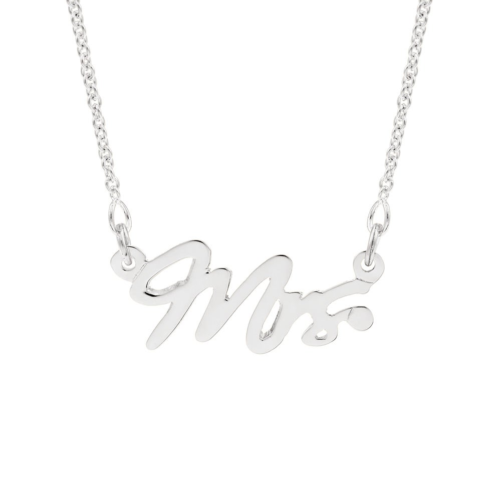 Married mrs sterling silver wedding necklace just married mrs sterling silver wedding necklace junglespirit Images