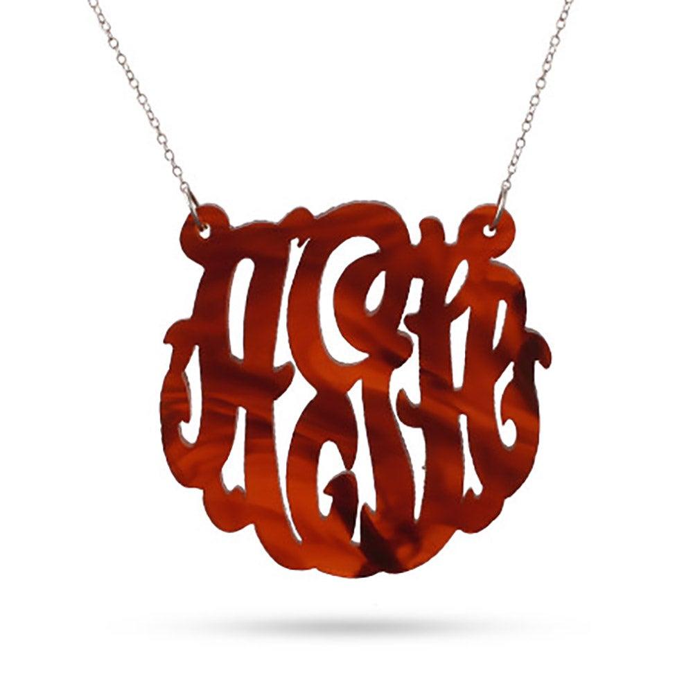 Tortoise shell acrylic monogram necklace eves addiction tortoise shell monogram acrylic necklace aloadofball Gallery