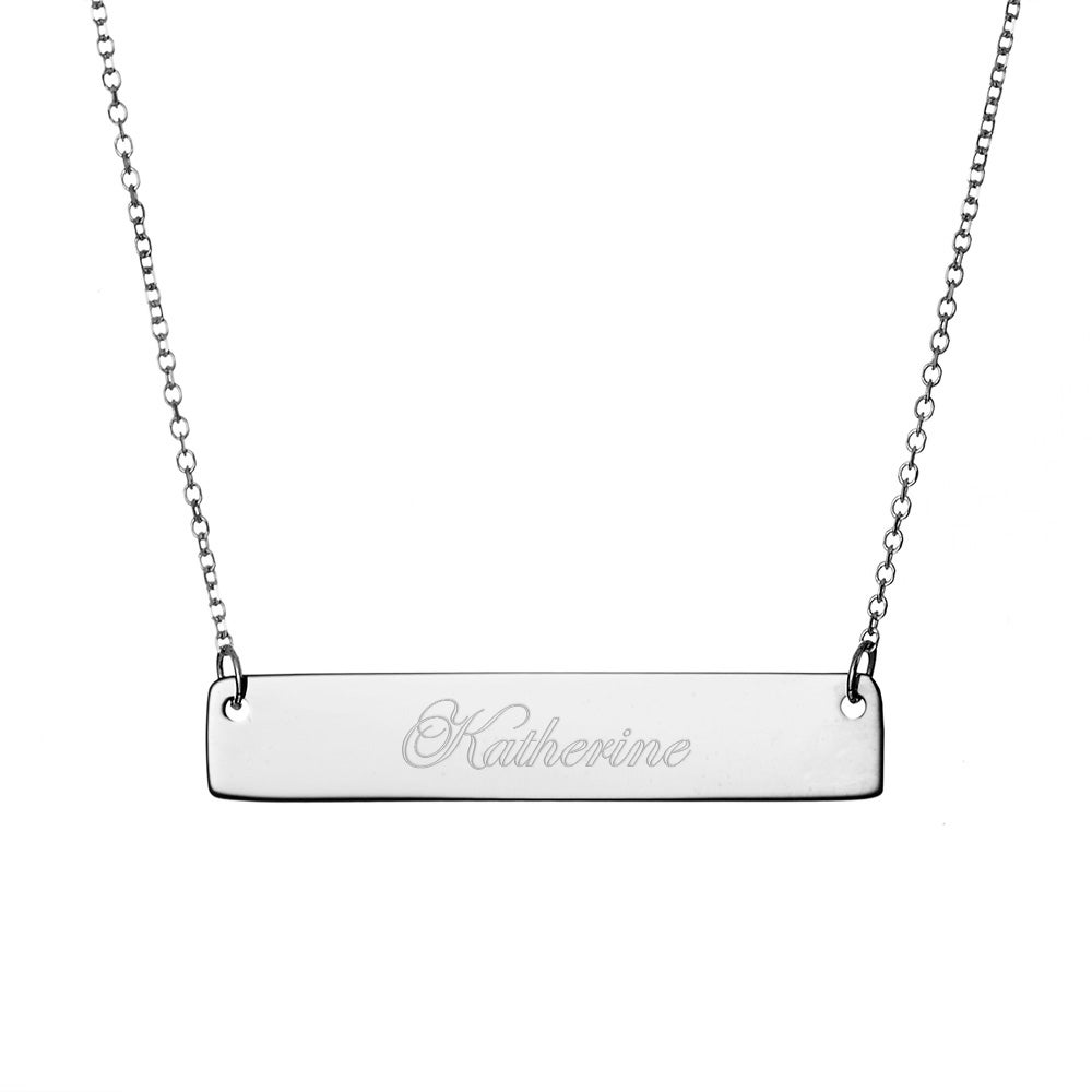 Engravable Sterling Silver Name Bar Necklace e20319533