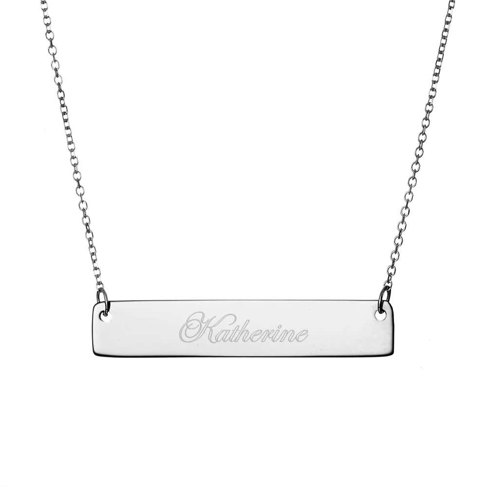 c6a55a900702f Engravable Sterling Silver Name Bar Necklace