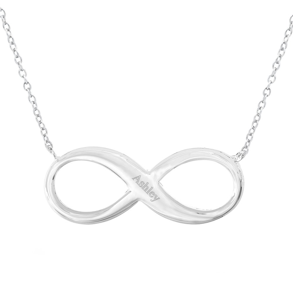 Personalized infinity necklace eves addiction engravable infinity necklace in sterling silver biocorpaavc Choice Image