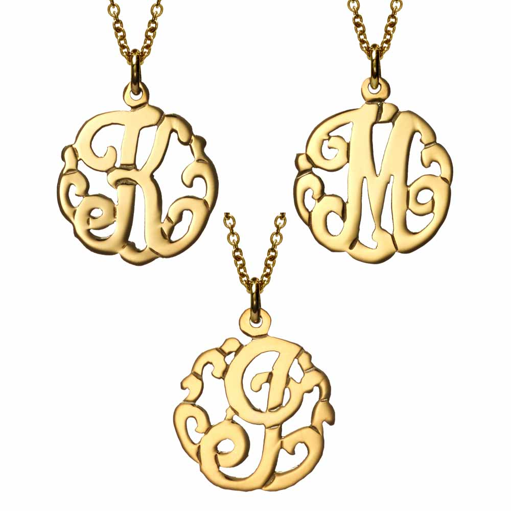 Petite initial gold vermeil monogram style necklace mozeypictures Image collections
