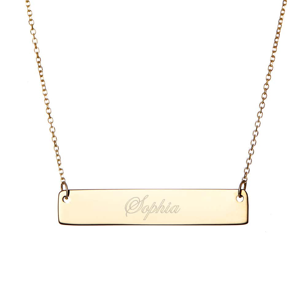 390414fd20bd93 14k Gold Bar Necklace