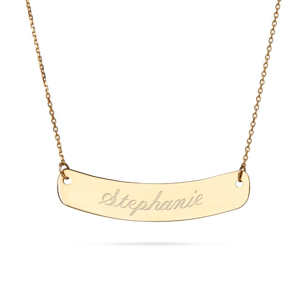 14k gold curved bar nameplate necklace eves addiction 14k gold curved bar nameplate necklace aloadofball Images