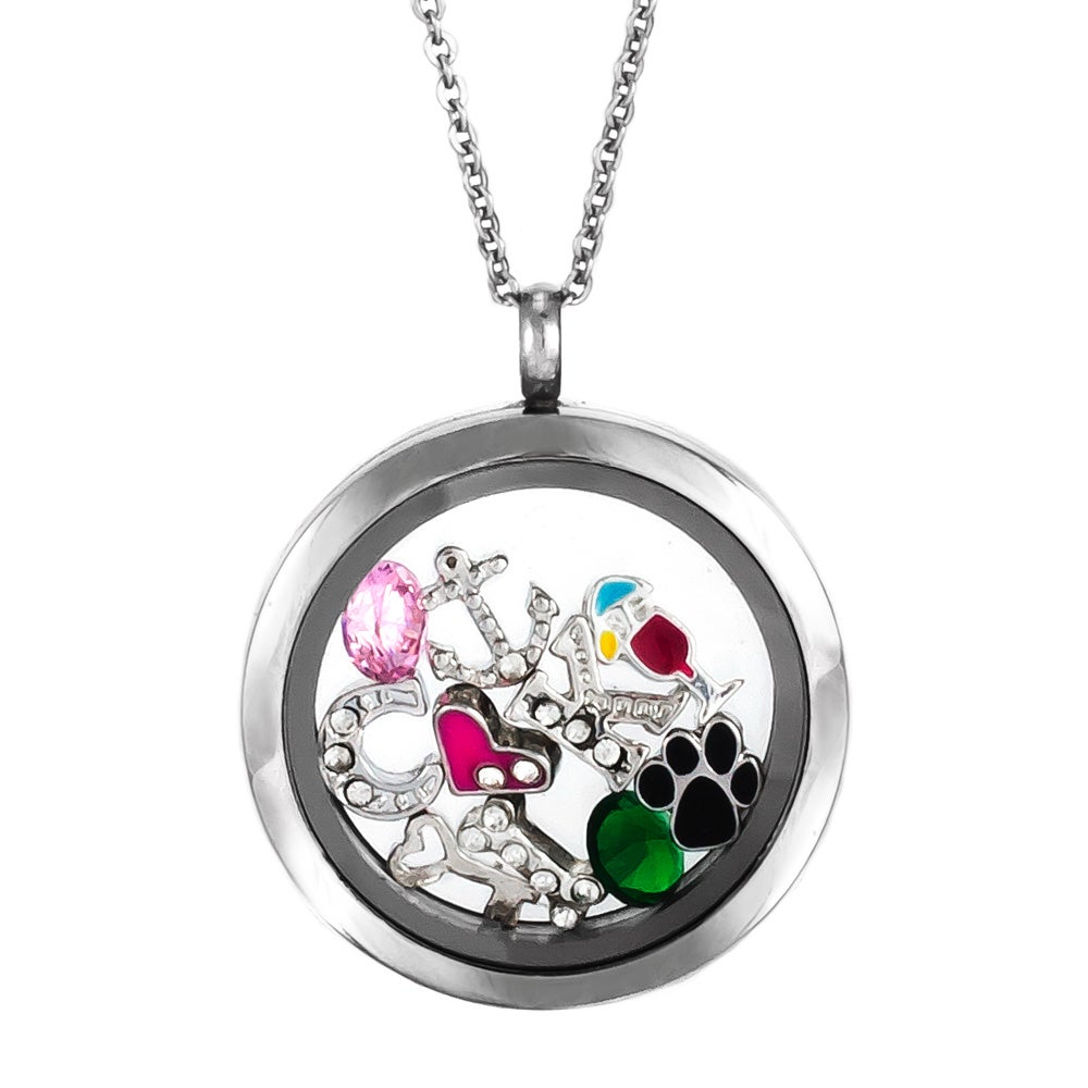 lockets circle charms necklace inside locket necklaces you of clear pieces with glass charm l m o