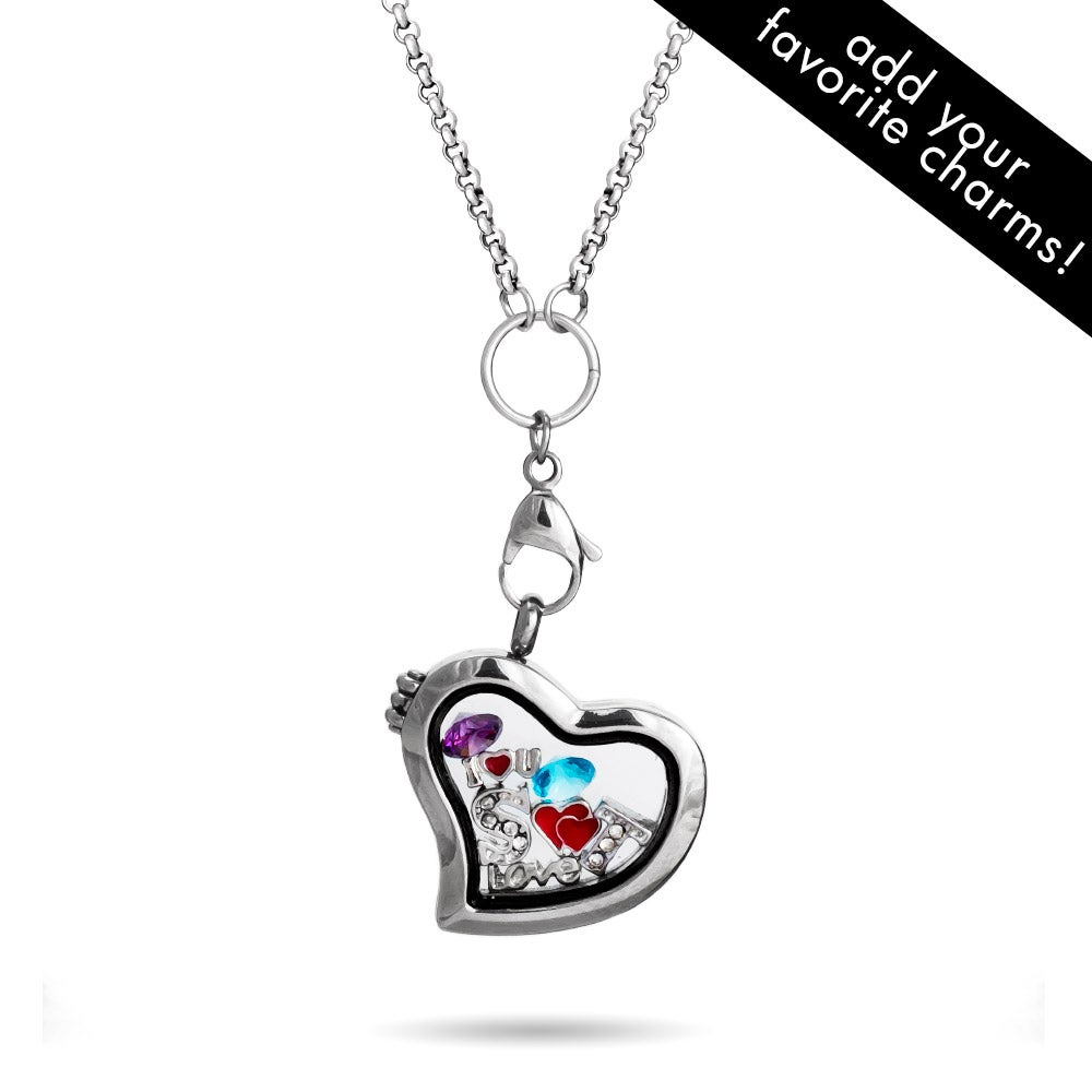 Heart shaped floating charm locket eves addiction heart shaped build a charm glass floating locket aloadofball Image collections