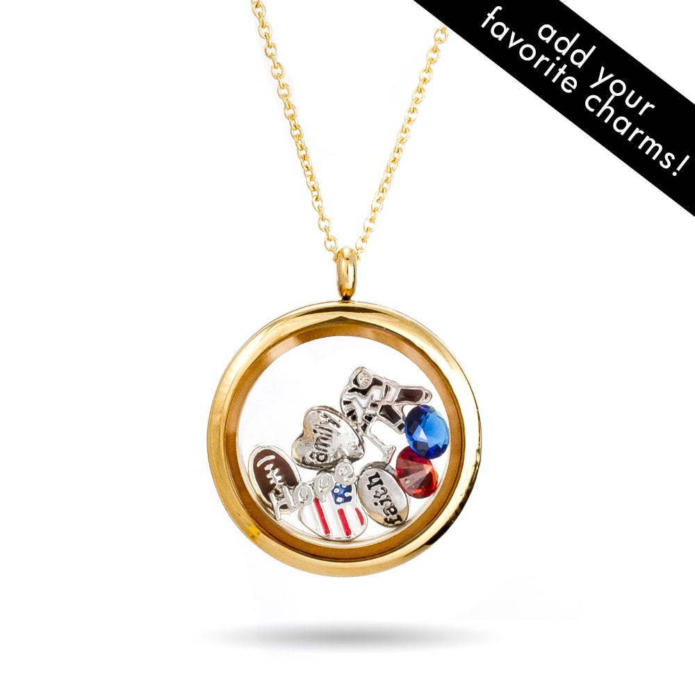 Gold round glass floating charm locket eves addiction gold round build a charm glass floating locket mozeypictures Gallery