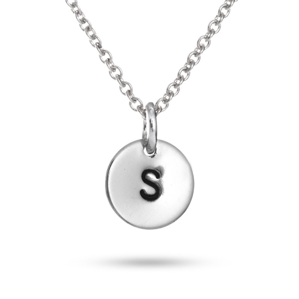 Silver hand stamped initial necklace hand stamped sterling silver initial necklace aloadofball