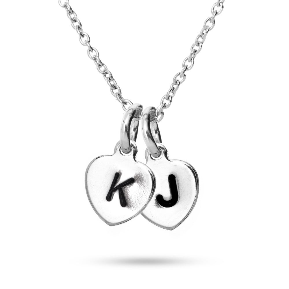 Stamped double heart initial necklace eves addiction hand stamped double heart charm initial necklace mozeypictures Images