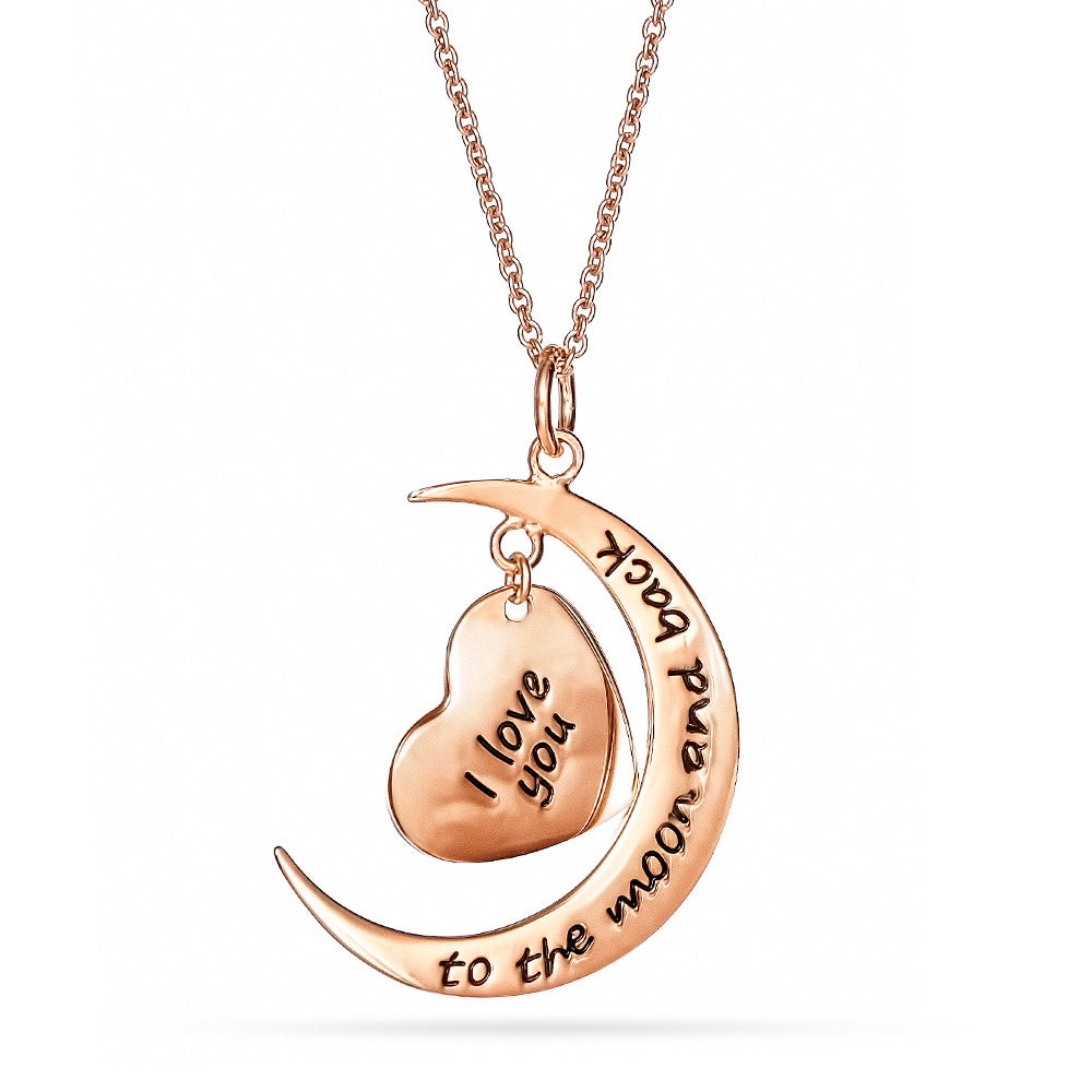 Engravable rose gold i love you to the moon and back necklace engravable i love you to the moon and back rose gold heart charm necklace aloadofball Choice Image