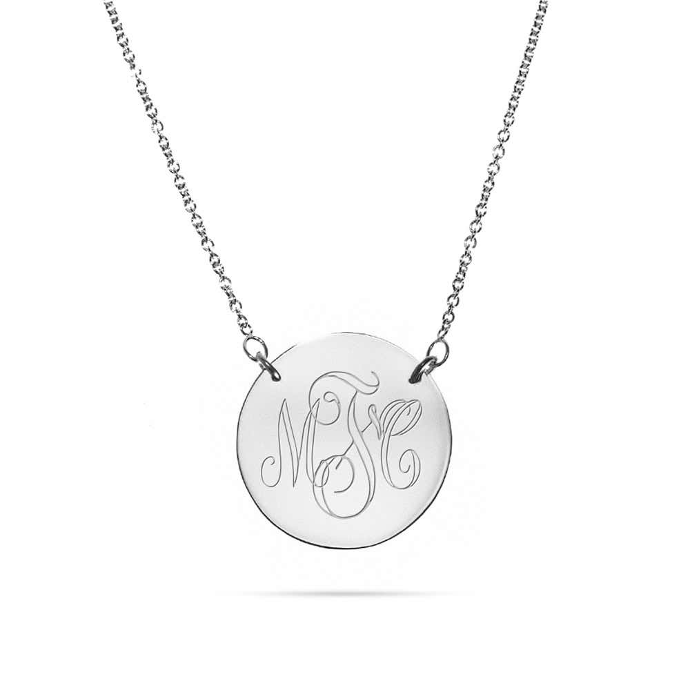 e07439c5a99ba Engravable Sterling Silver Disc Necklace