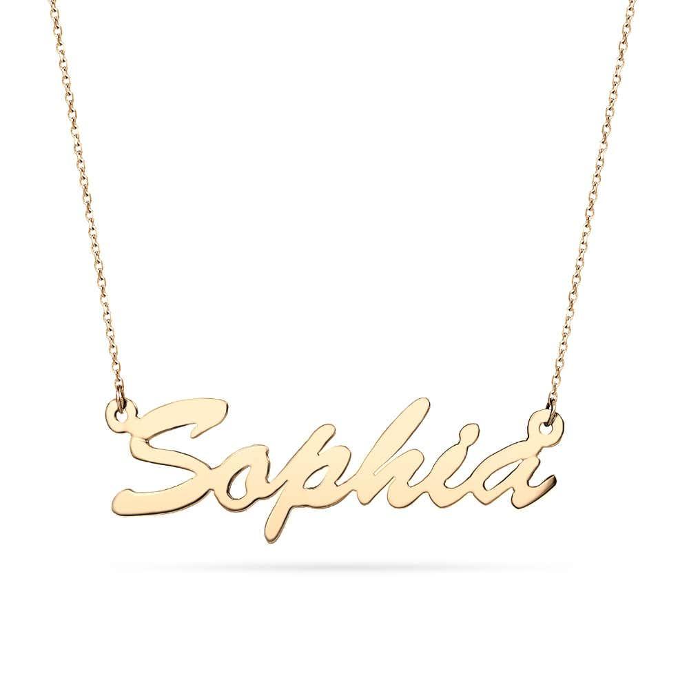 5dec4cdfa37b8 14K Gold Thin Script Nameplate Necklace