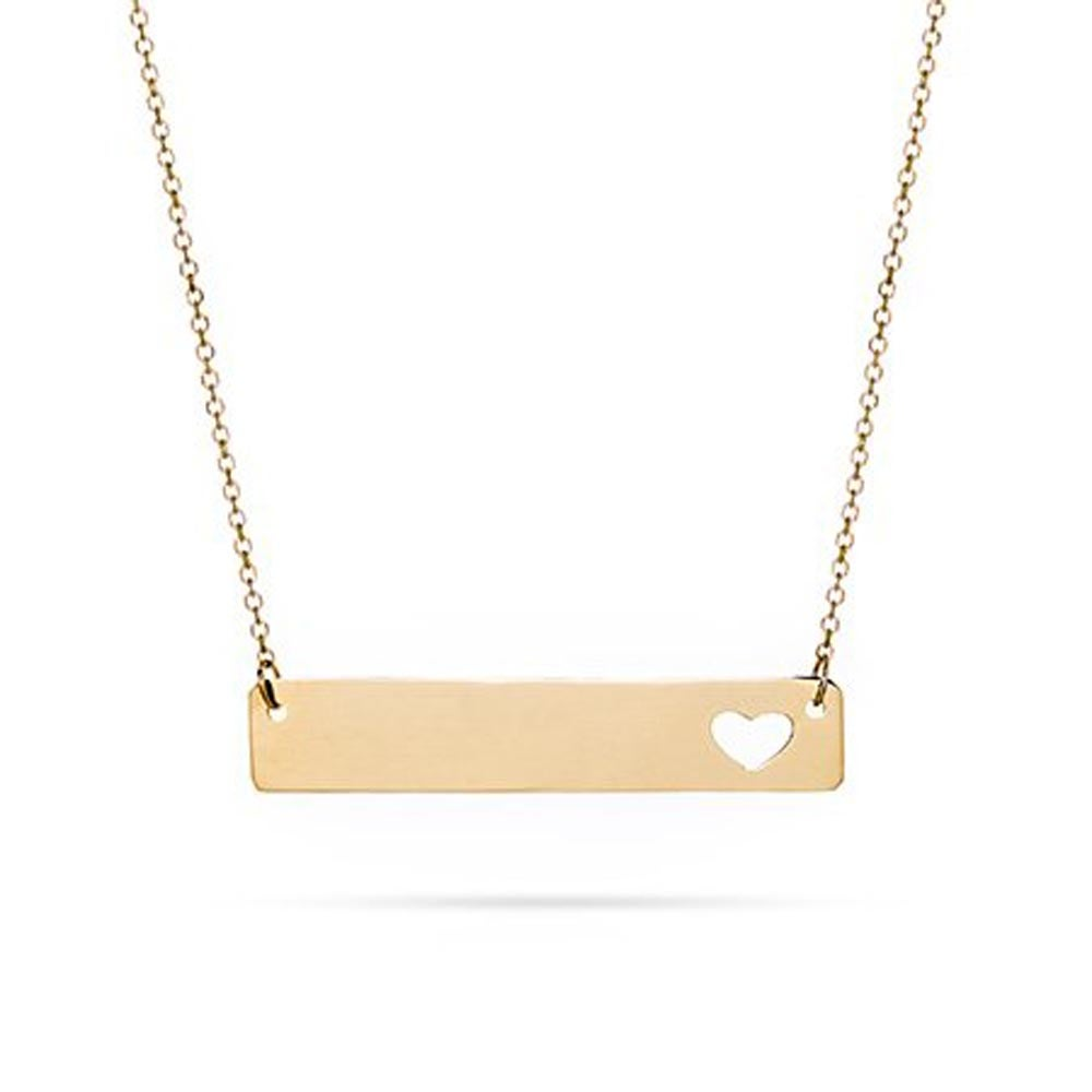Gold cut out heart bar necklace 14k gold bar cut out heart nameplate necklace aloadofball Images