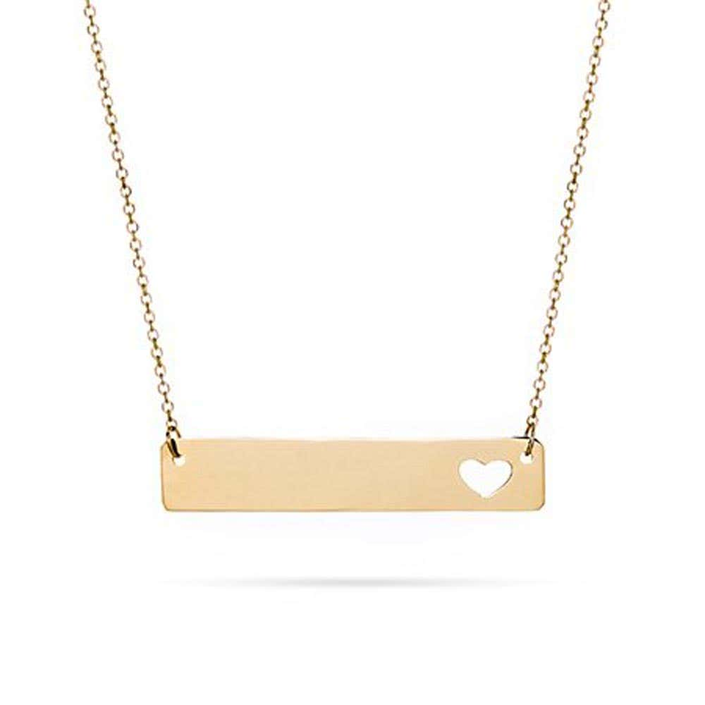 f64090bc1 14K Gold Cut Out Heart Bar Necklace
