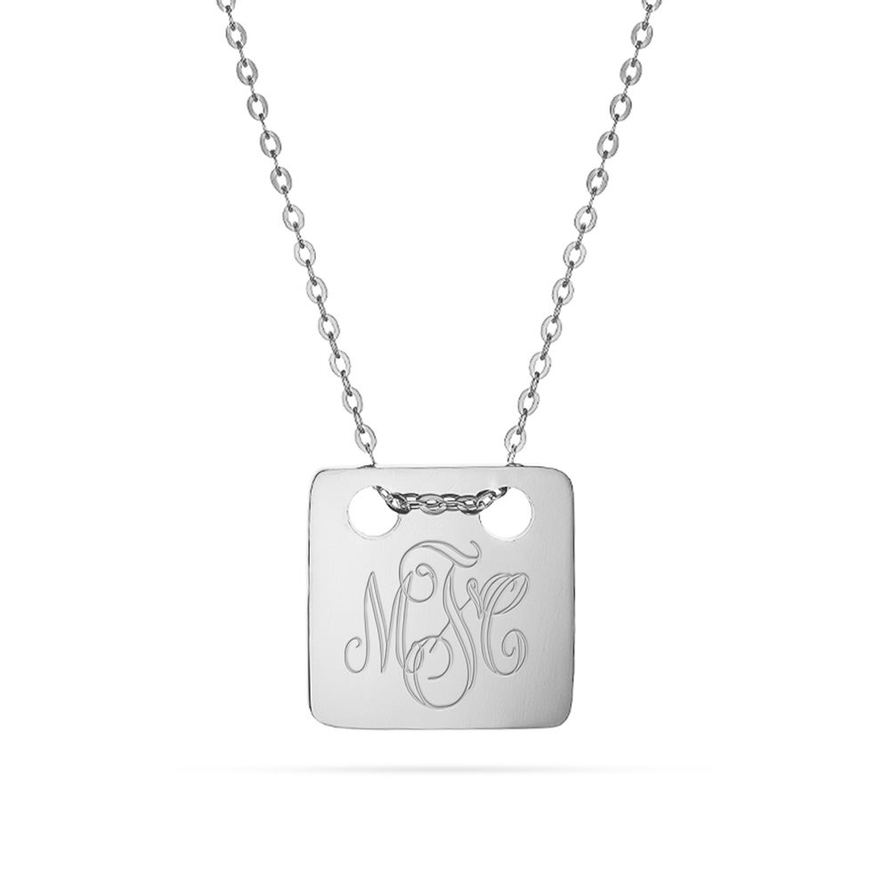 Square monogram tag pendant engravable silver square monogram tag necklace mozeypictures Image collections