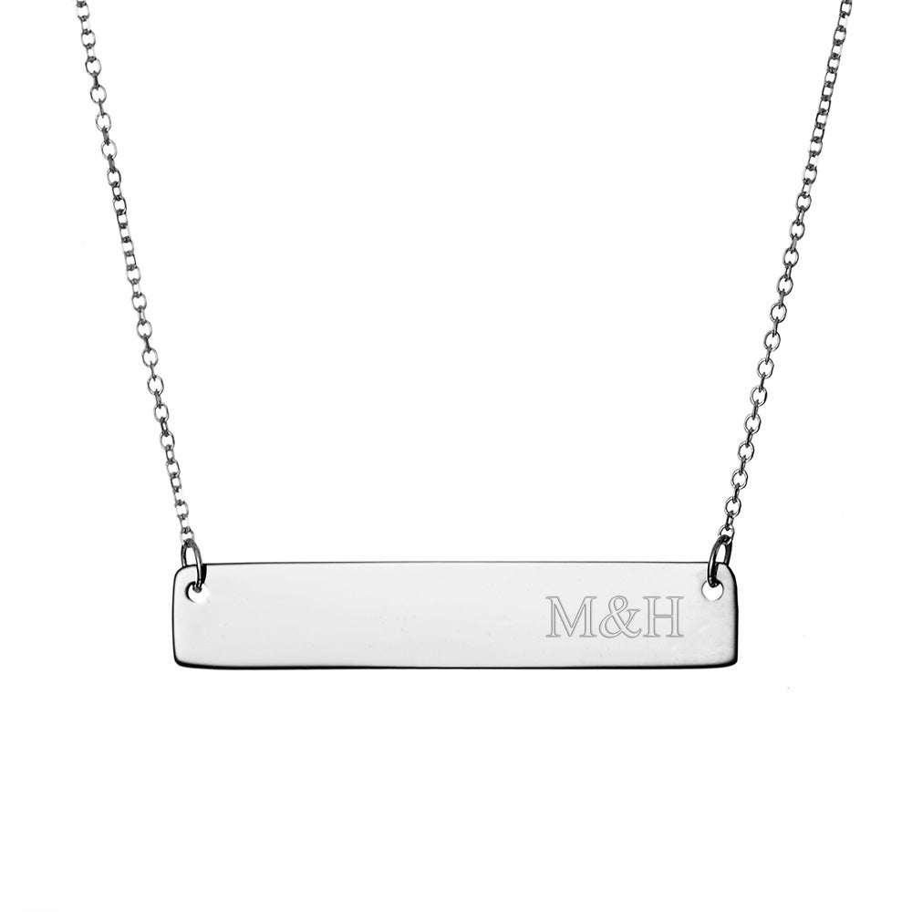 Couples initials sterling silver bar necklace engravable couples initials sterling silver bar necklace mozeypictures Image collections