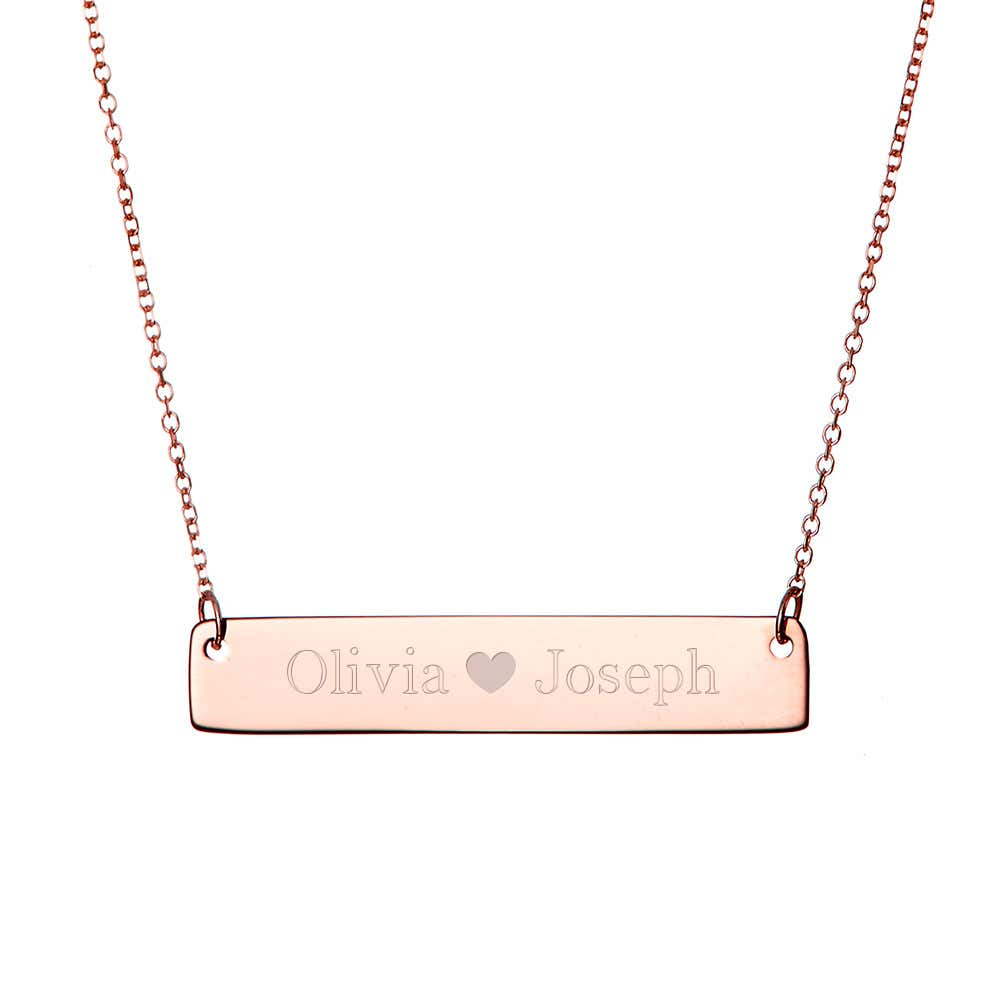 b87ada06f Couple's Rose Gold Name Bar Necklace with Heart