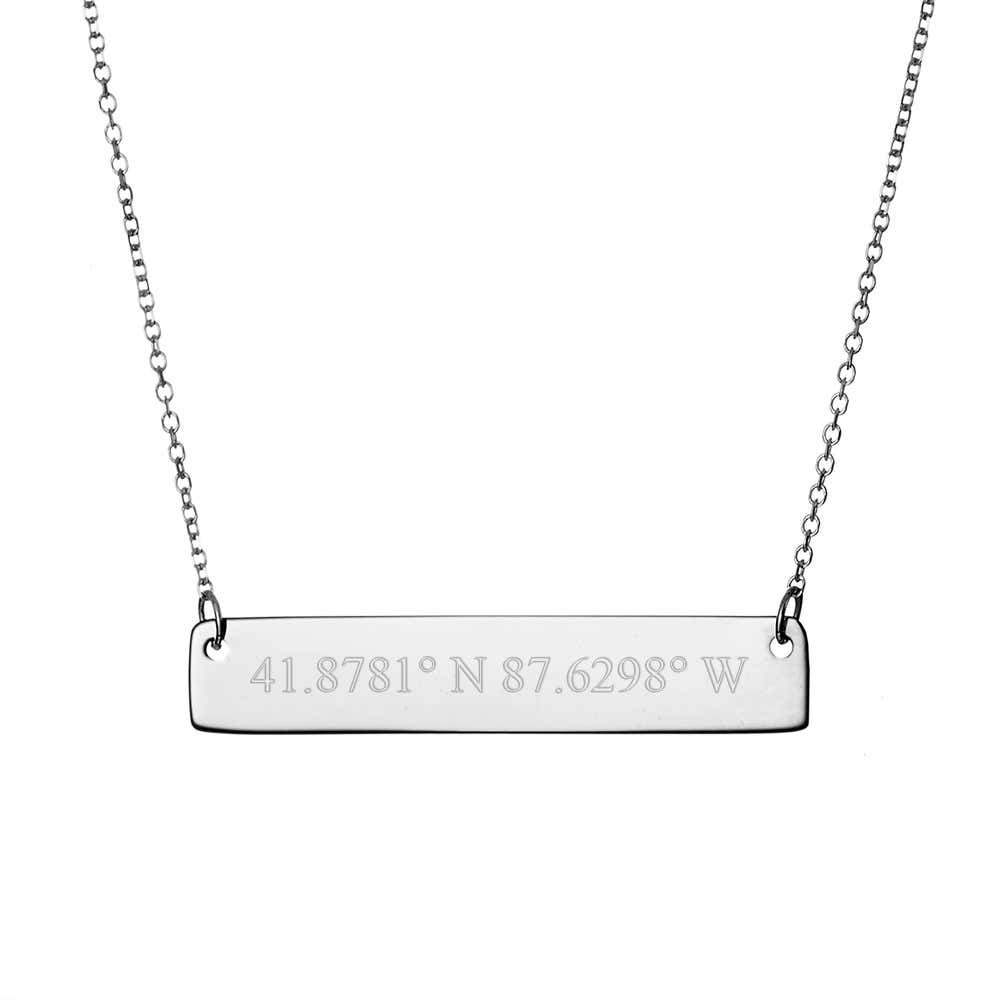 704cb4d11196f5 Custom Coordinate Sterling Silver Bar Necklace