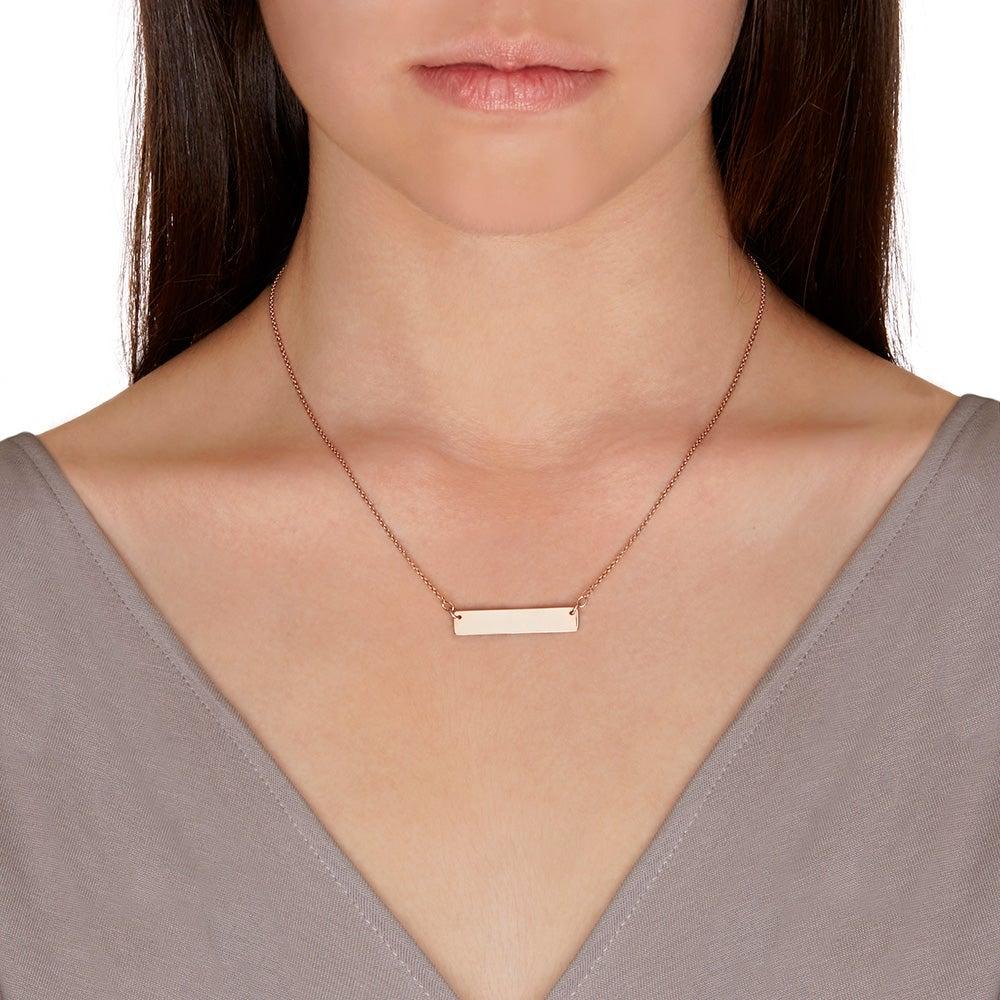 custom coordinate rose gold bar necklace