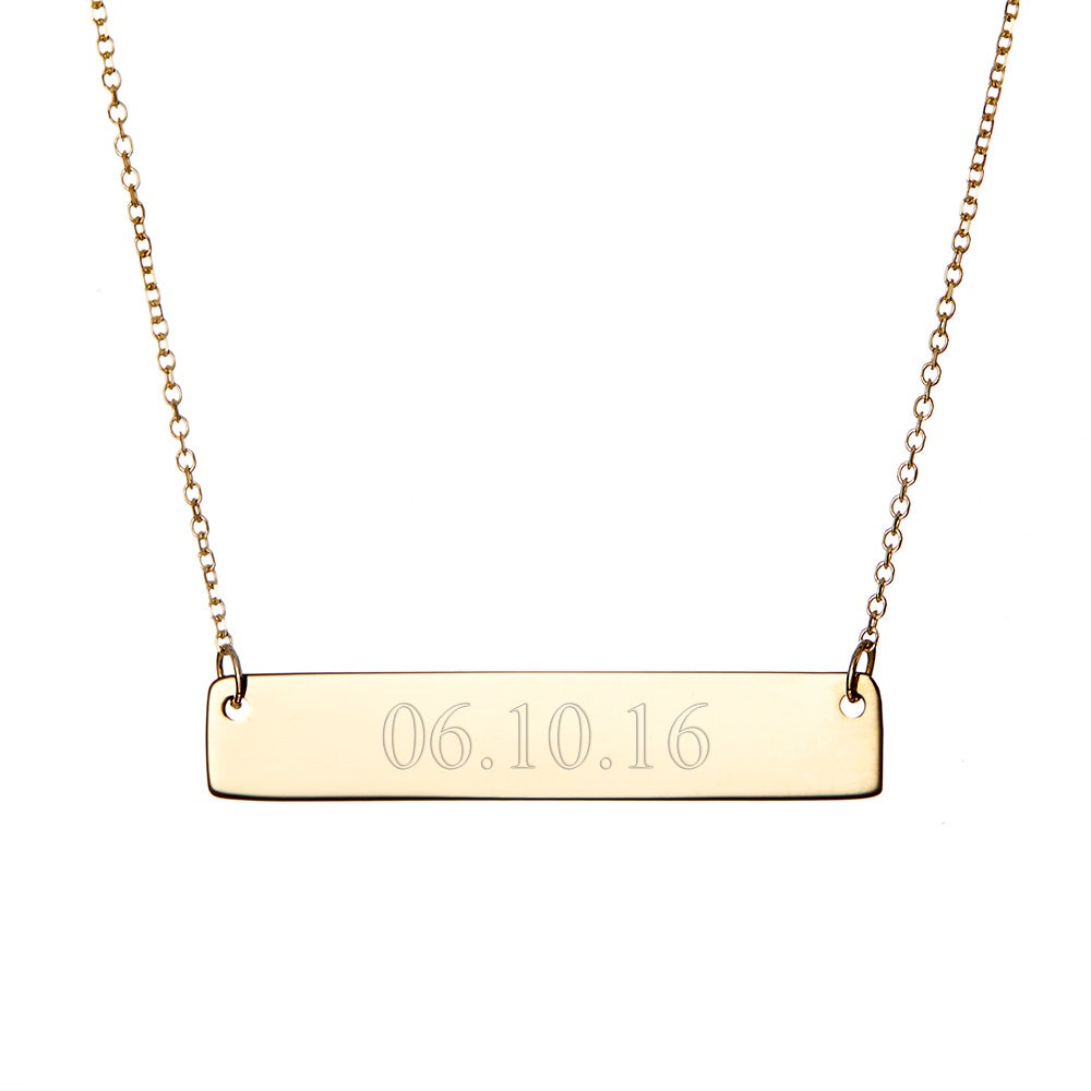 custom date gold bar necklace