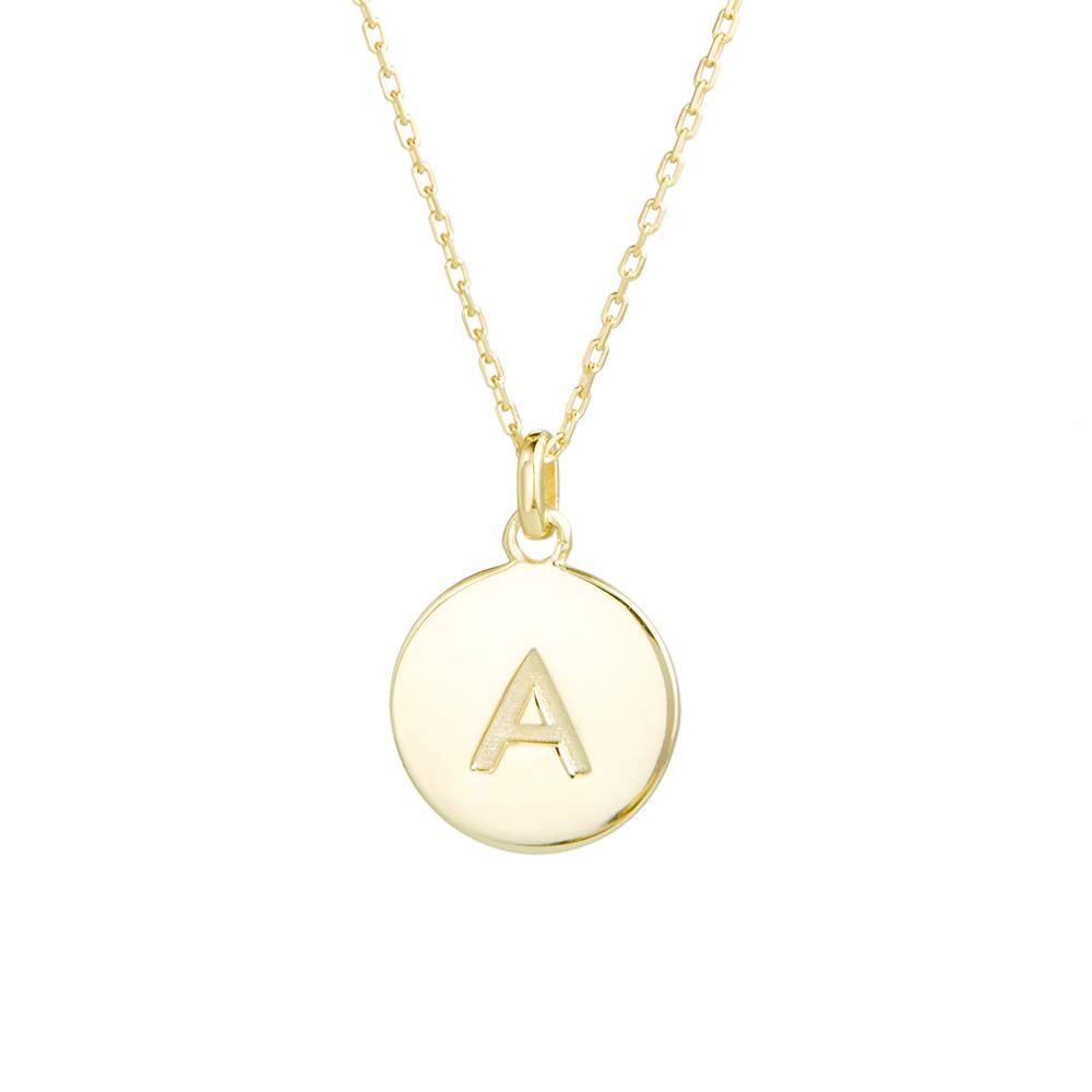 Gold disc necklace initial gold disc necklace mozeypictures Choice Image