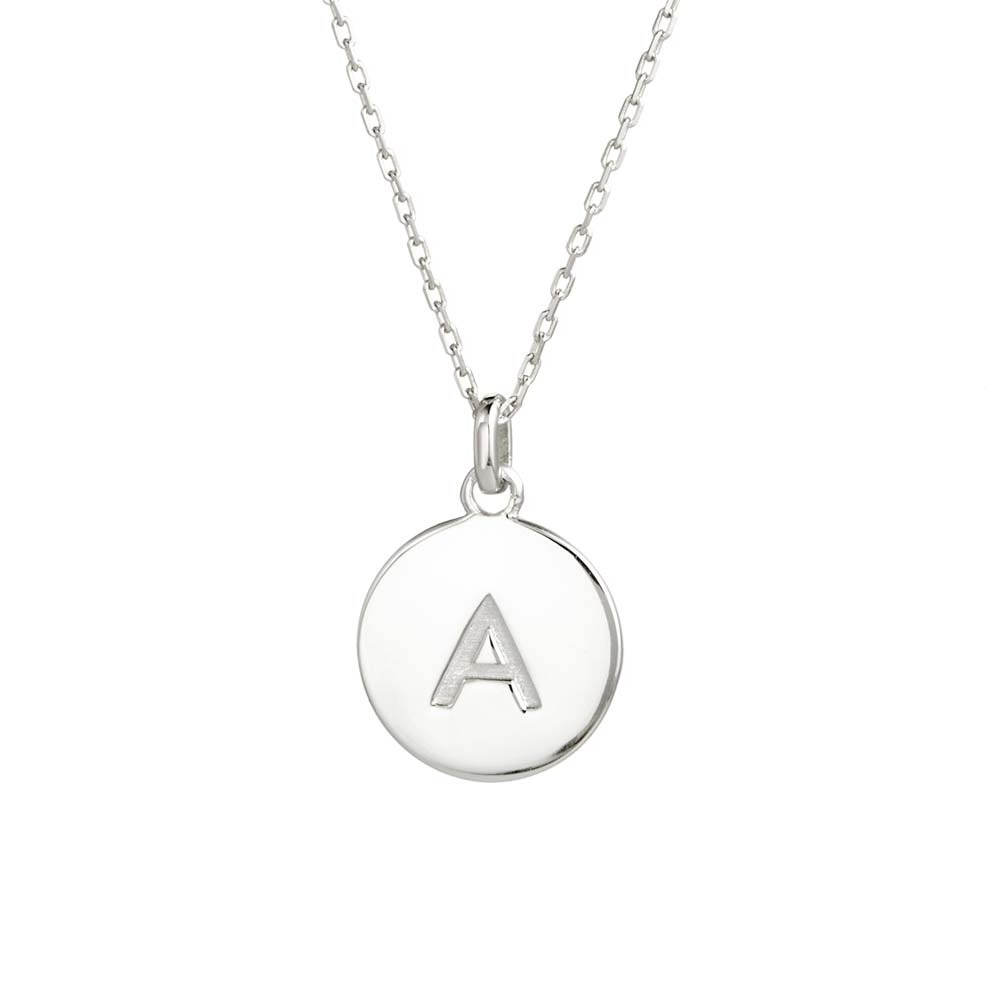 ada0b35234702 Initial Silver Disc Necklace
