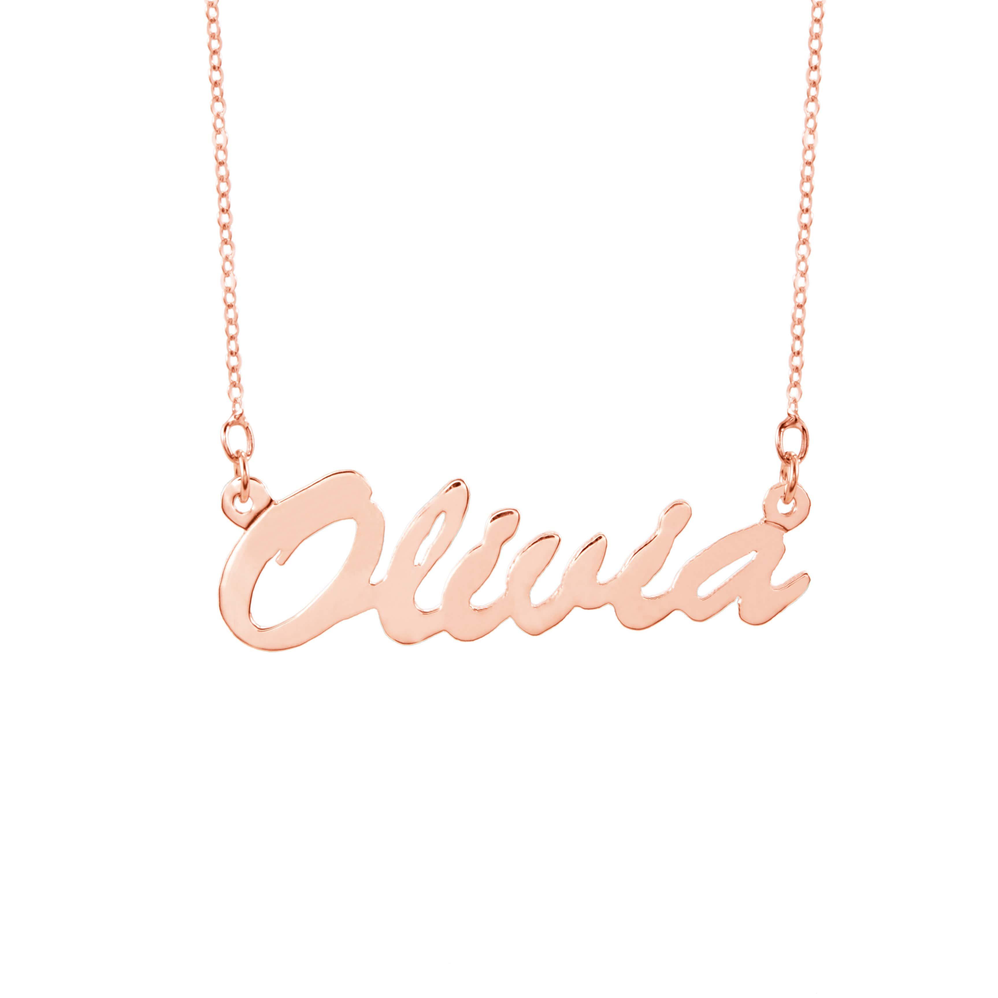 01d2478c02ec5 Thin Script Rose Gold Name Necklace
