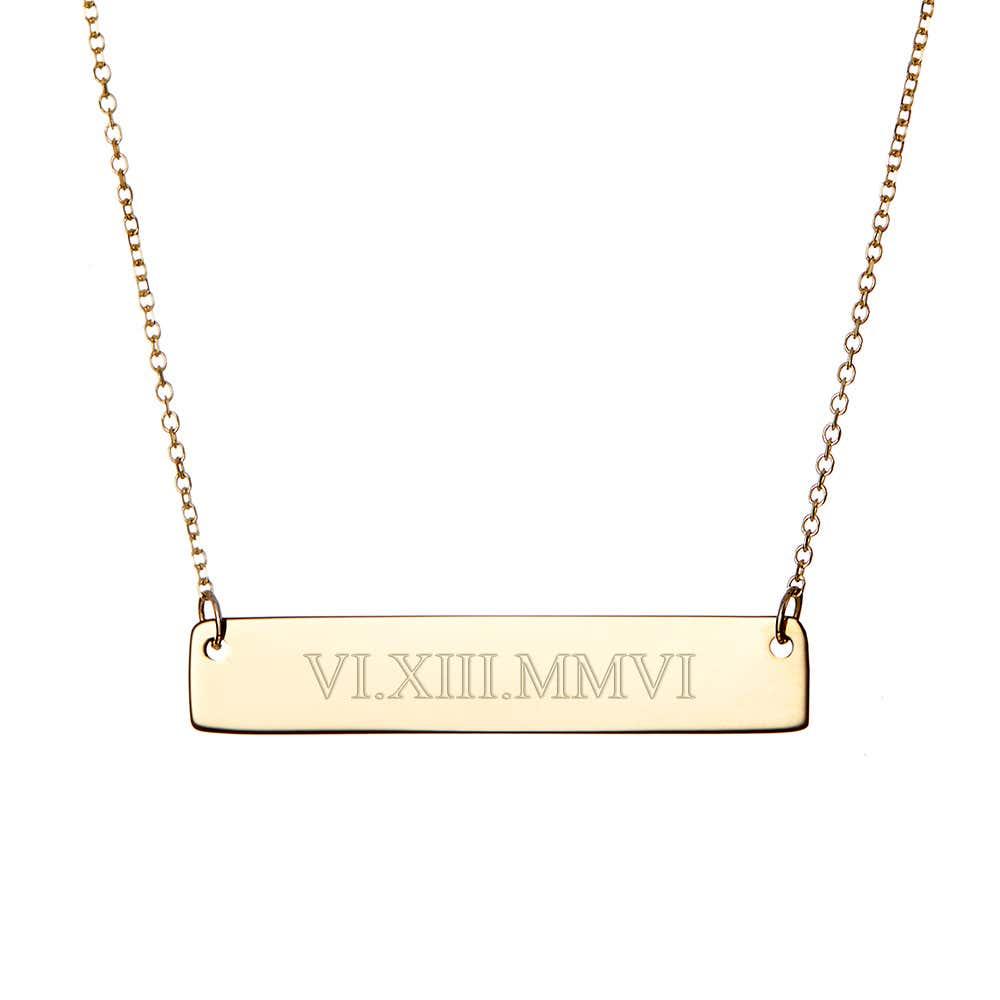 15c2da142 14K Gold Roman Numeral Bar Necklace