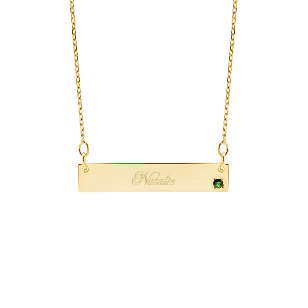e757e90e9c471 14K Gold Birthstone Name Bar Necklace