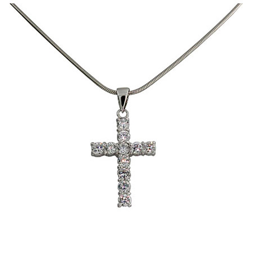 Style sterling silver diamond cz cross pendant evesaddiction designer style sterling silver diamond cz cross necklace mozeypictures Choice Image