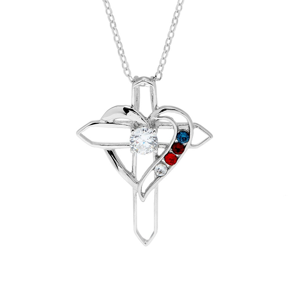 Custom 4 birthstone cross heart necklace eves addiction custom 4 birthstone heart cross sterling silver necklace aloadofball Gallery