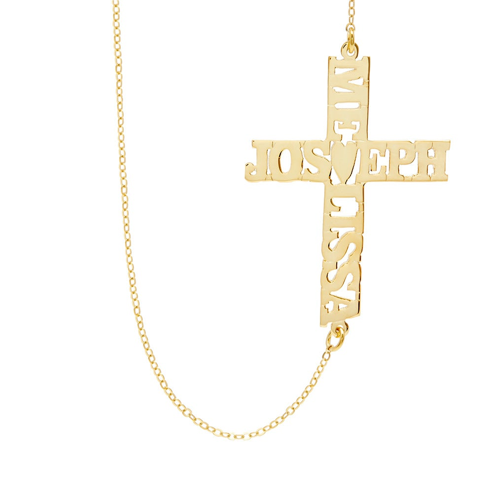 Well-known Custom Gold Sideways Couple's Name Cross Necklace PX14
