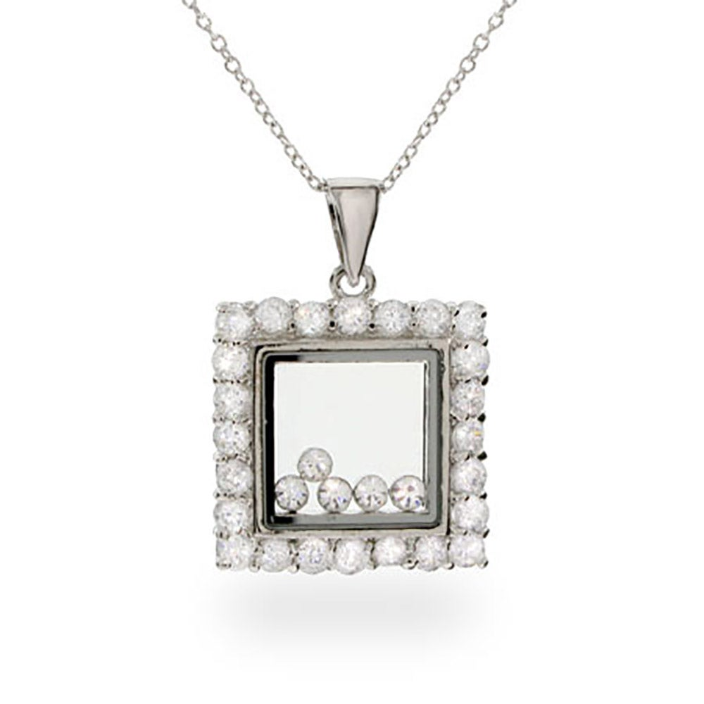 Completely new Designer Inspired Floating Diamond CZ Square Pendant MY01
