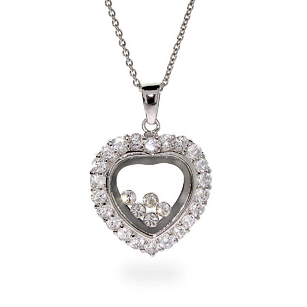 Inspired silver floating diamonds cz heart necklace designer inspired silver floating diamonds cz heart necklace aloadofball Gallery