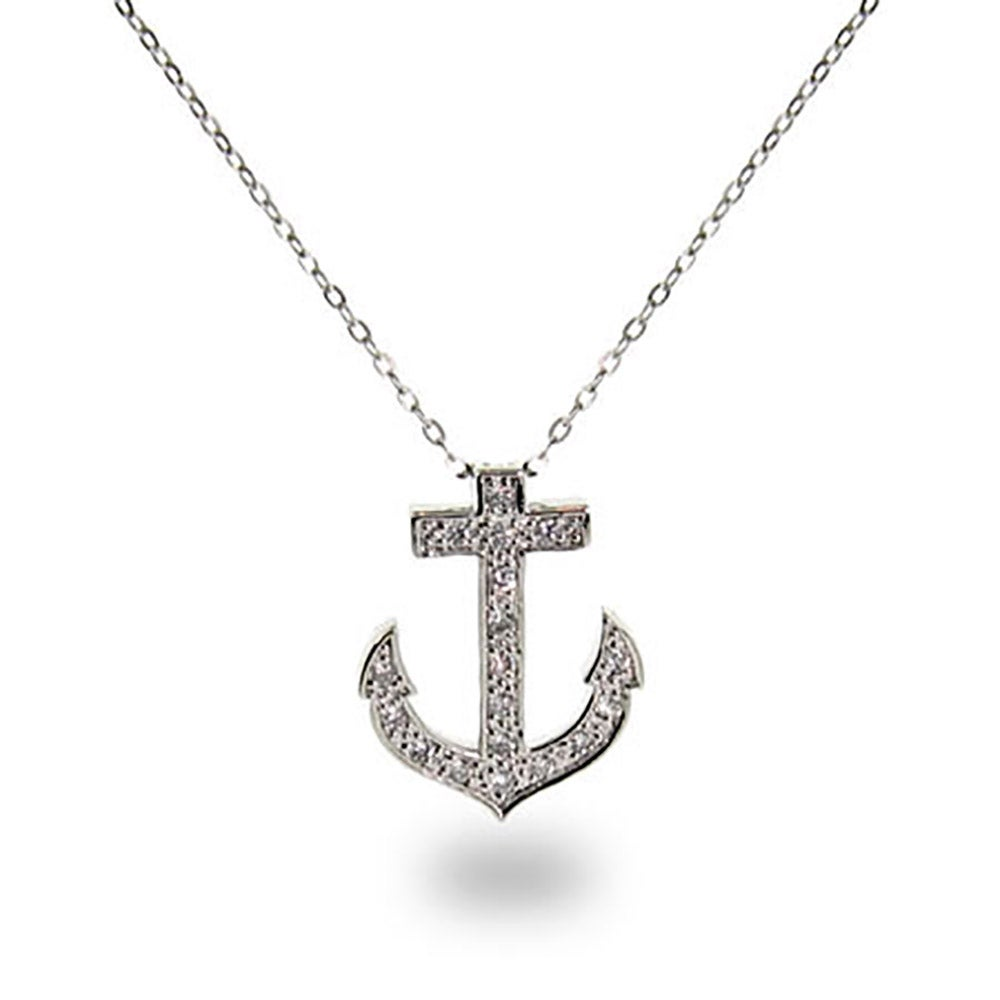 Style cubic zirconia anchor necklace eves addiction designer style cubic zirconia anchor pendant aloadofball Choice Image