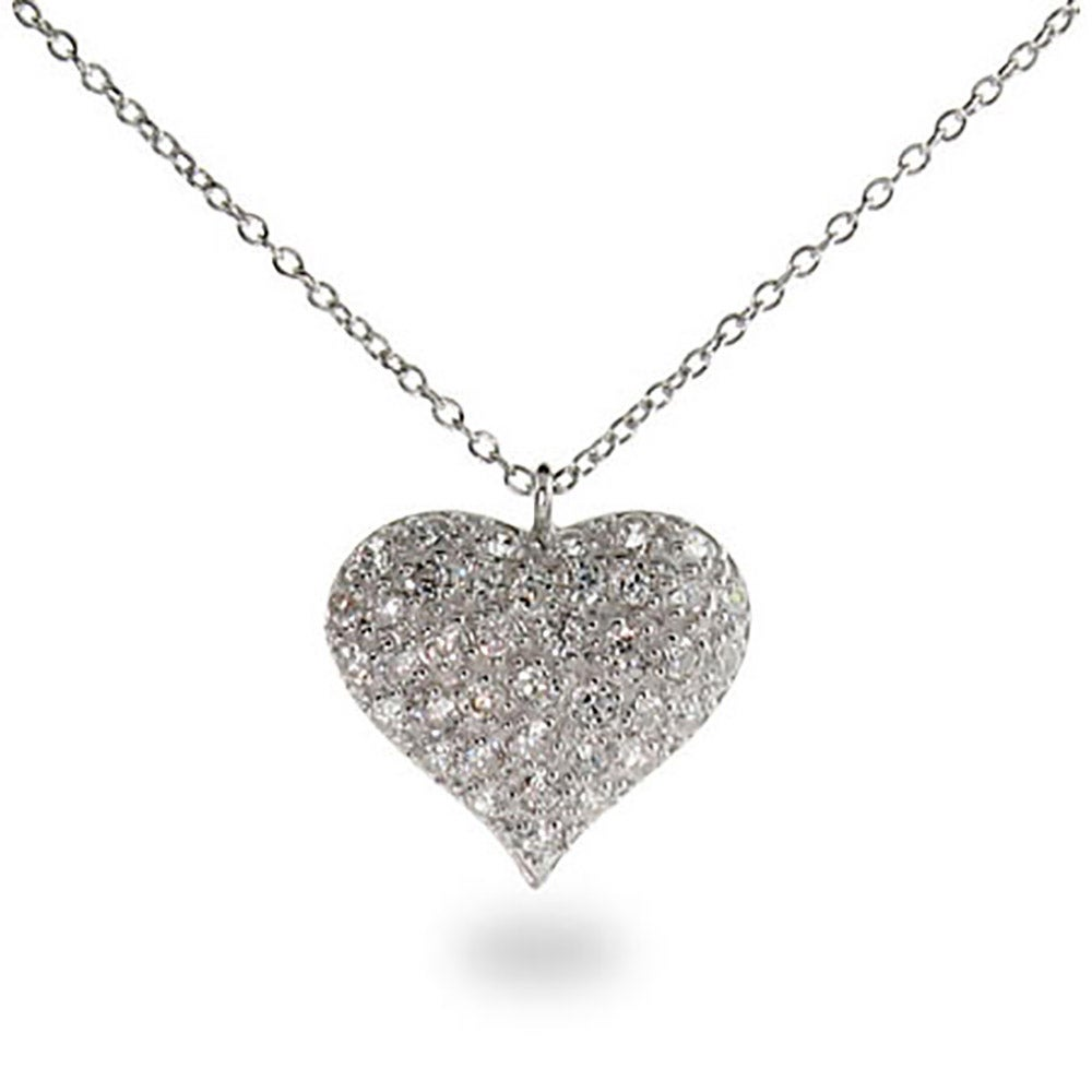 Sterling silver pave cz puffed heart necklace mozeypictures Gallery