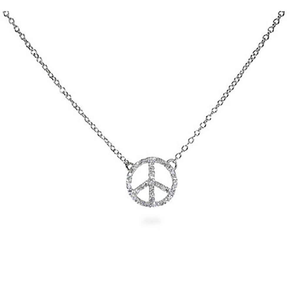 Silver petite cz peace sign necklace petite diamond cz peace sign necklace buycottarizona Gallery