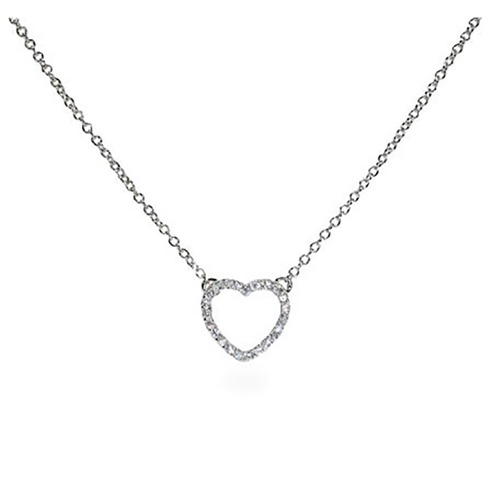 Sterling silver petite cz heart necklace mozeypictures Gallery