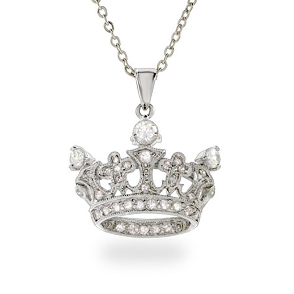 sterling around pendant crown necklace with a itm cubic zirconia and silver